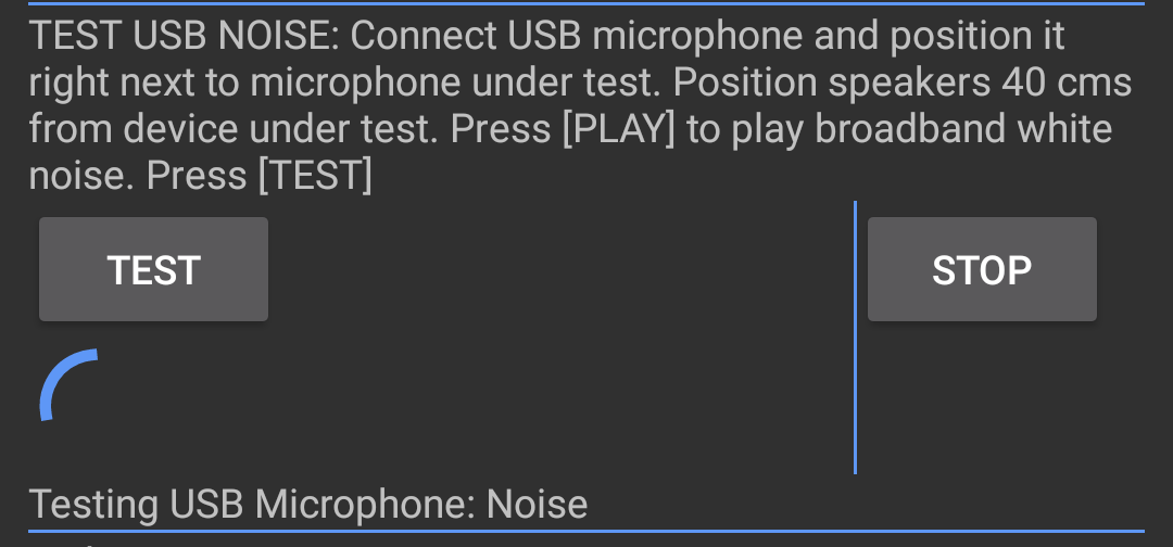 Screenshot of USB noise test
