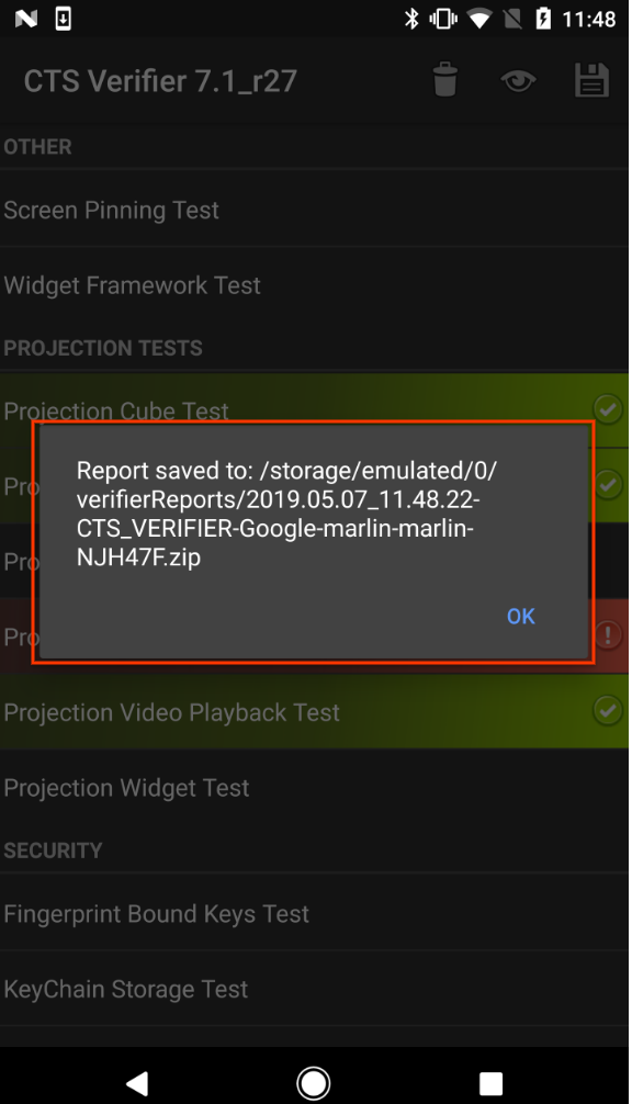 CTS Verifier path to saved report