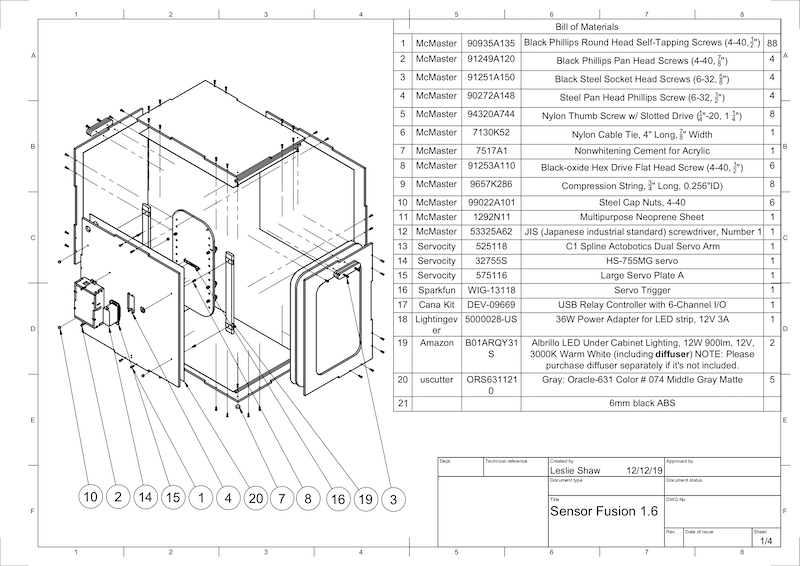 CAD drawing of Sensor Fusion Box components