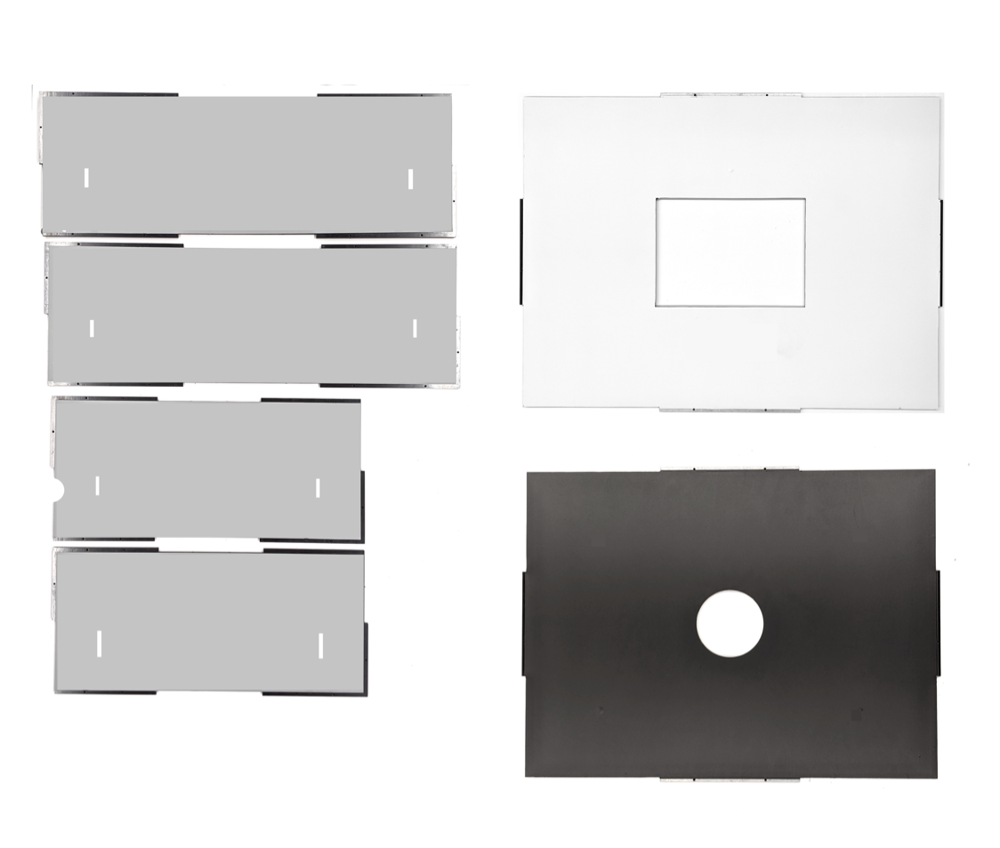ABS pieces with vinyl applied on the smooth side