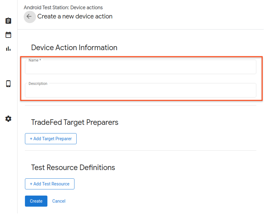 Device Action name