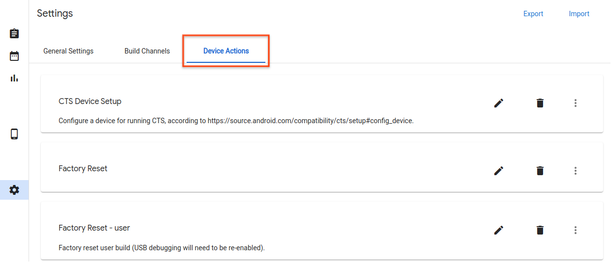 Device Actions tab