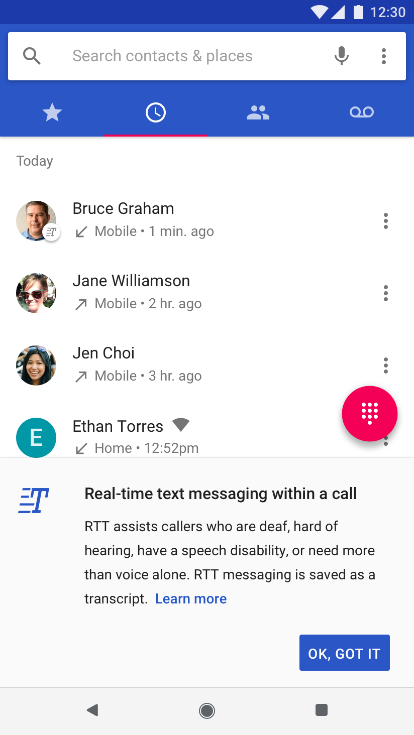 Implementing Real-Time Text | Android Open Source Project