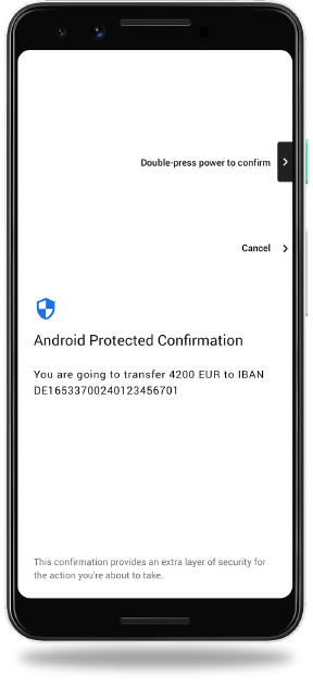 Protected Confirmation screen